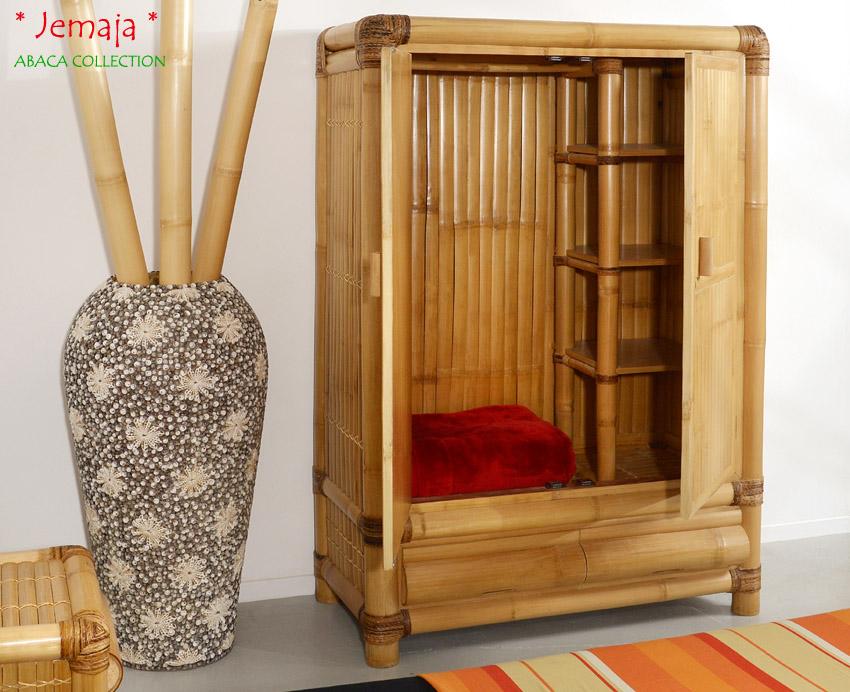 bambusschrank jemaja abaca kleider schrank holzschrank garderobe dielenschrank. Black Bedroom Furniture Sets. Home Design Ideas