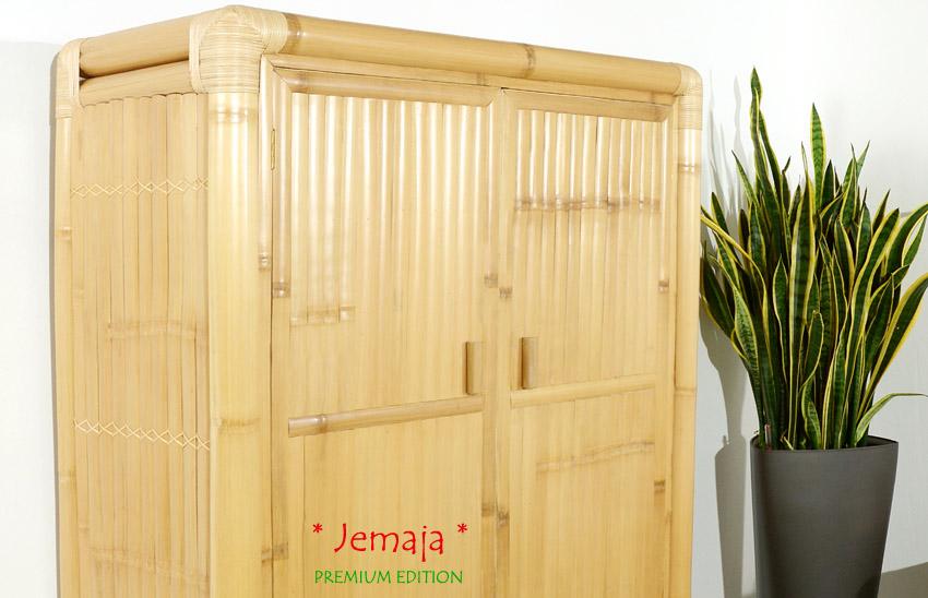 bambus kleiderschrank jemaja rattan schrank holzschrank schlafzimmer garderobe ebay. Black Bedroom Furniture Sets. Home Design Ideas