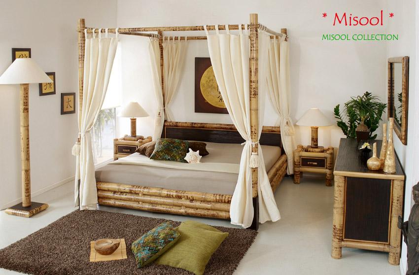luxus himmelbett 140x200 bambusbett holzbett designerbett boxspring doppelbett n ebay. Black Bedroom Furniture Sets. Home Design Ideas