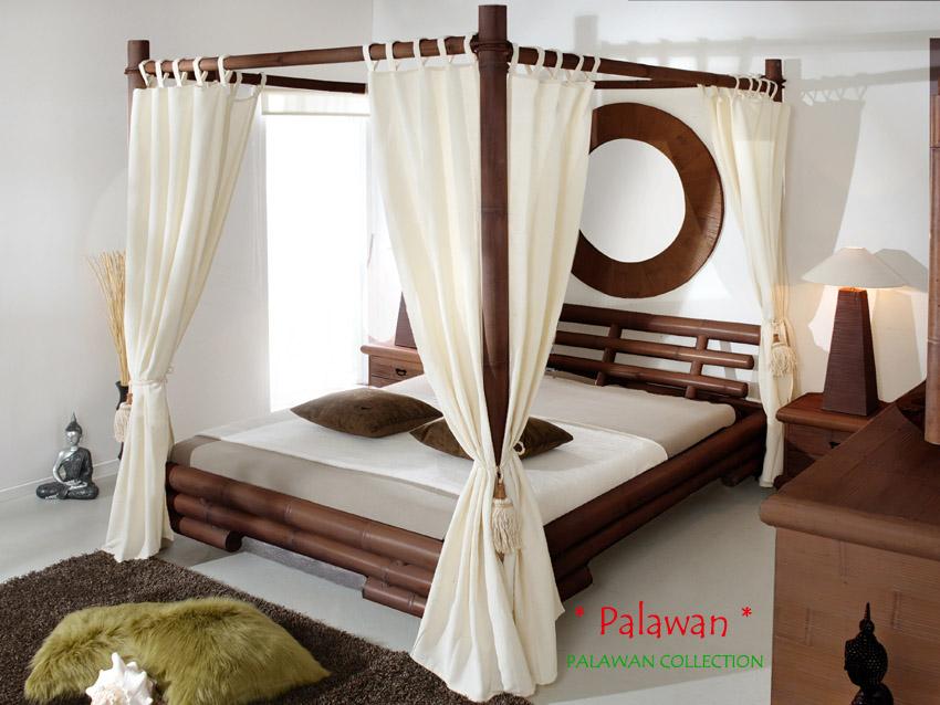himmelbett 180x200 palawan braun bambusbett afrikanisch. Black Bedroom Furniture Sets. Home Design Ideas