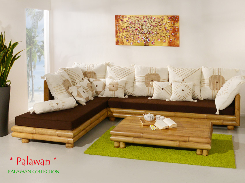 bambus sofa palawan links sitzgarnitur ecksofa couch garnitur, Wohnzimmer dekoo