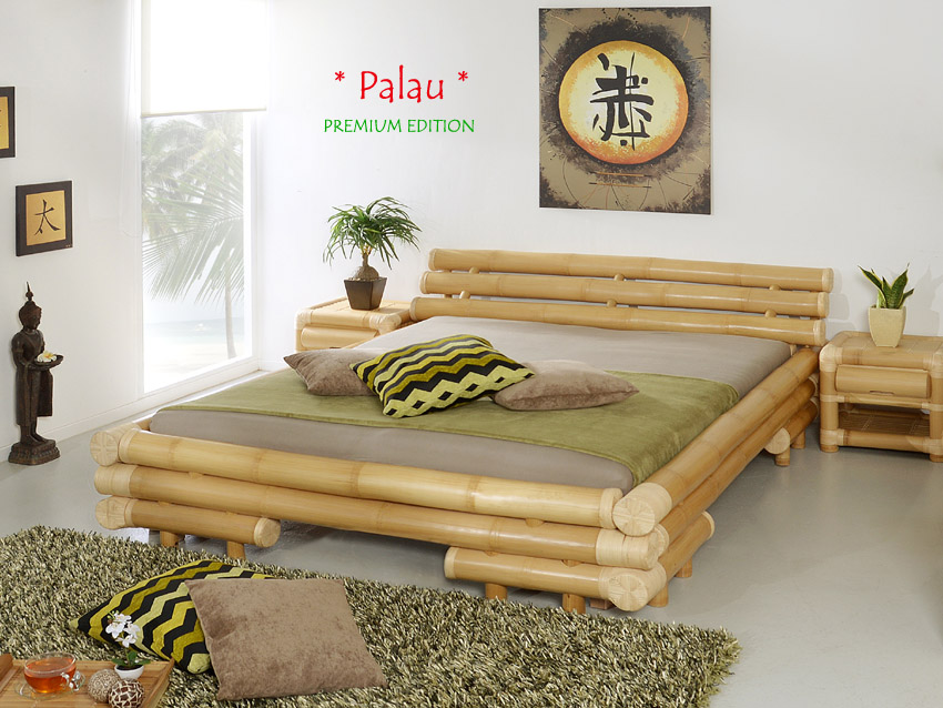 bambusbett 140x200 palau rattan bettgestell bettrahmen holzbett futonbett bett ebay. Black Bedroom Furniture Sets. Home Design Ideas