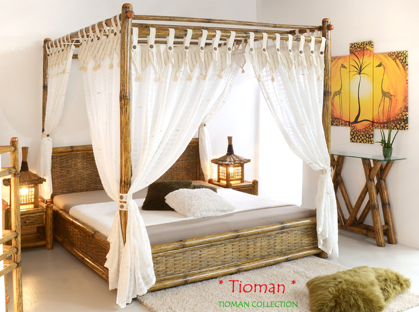 himmelbett 200x200 tioman aus bambus holzbett designerbett doppelbett bettrahmen ebay. Black Bedroom Furniture Sets. Home Design Ideas